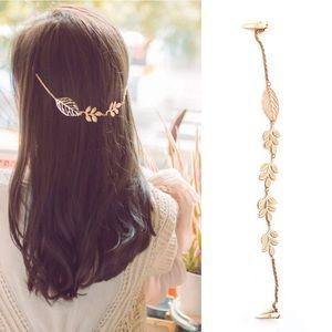 NWT Anthropologie Chain Leaf Floral Clip Headband